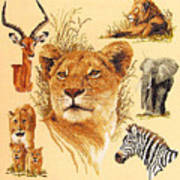Needlework - African Animals Poster