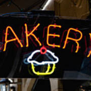 Neon Bakery Sign Poster
