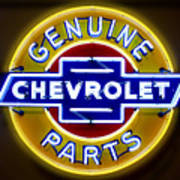 Neon Genuine Chevrolet Parts Sign Poster