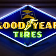 Neon Goodyear Tires Sign Poster