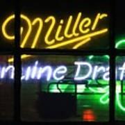 Neon Miller Beer Poster