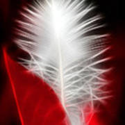 Neon Red Feather Poster