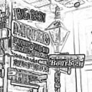 Neon Sign On Bourbon Street Corner French Quarter New Orleans Black And White Photocopy Digital Art Poster