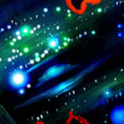 Neon Stars, Green Galaxy And Ufo Poster