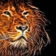 Neon Strong Proud Lion On Black Poster