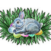 Nesting Easter Bunny Poster