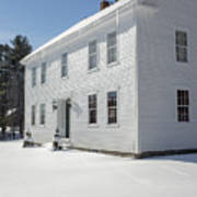 New England Colonial Home In Winter Poster