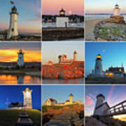 New England Lighthouse Collage Poster