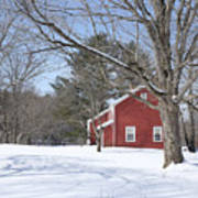 New England Red House Winter Poster