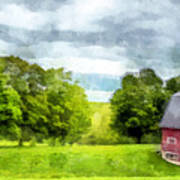 New Hampshire Landscape Red Barn Etna Poster