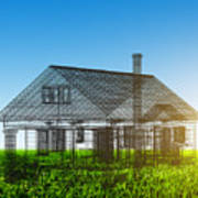 New House Wireframe Project On Green Field Poster