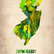 New Jersey Watercolor Map Poster
