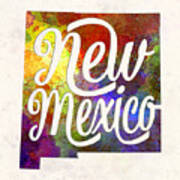 New Mexico Us State In Watercolor Text Cut Out Poster