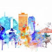 New Orleans Watercolor Skyline Poster
