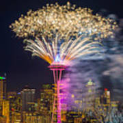 New Year Fireworks - Seattle Poster