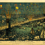 New York And Brooklyn Bridge Opening Night Fireworks Poster