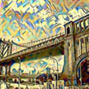 New York City - Brooklyn Bridge Watercolor Poster