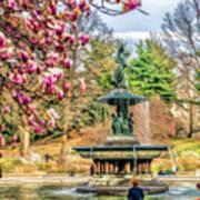 New York City Central Park Bethesda Fountain Blossoms Poster