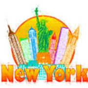New York City Colorful Skyline In Circle Impressionist Illustrat Poster