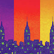 New York City Empire State Sunset Poster