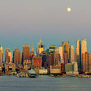 New York City Moonrise I Poster by Clarence Holmes