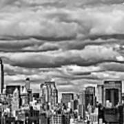 New York City Skyline B And W Poster