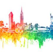 New York City Skyline Color Poster