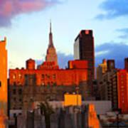 New York City Skyline Sunset Poster