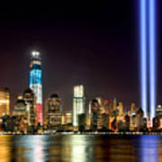New York City Skyline Tribute In Lights And Lower Manhattan At Night Nyc Poster