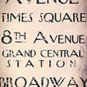 New York City Street Sign Poster