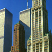 New York City - Woolworth Building And World Trade Center Poster