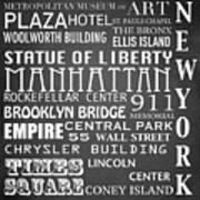 New York Famous Landmarks Poster