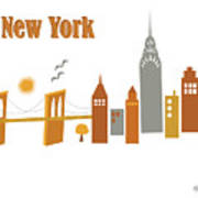 New York Horizontal Scene - Brooklyn Bridge Poster