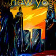 New York Night Skyline Poster