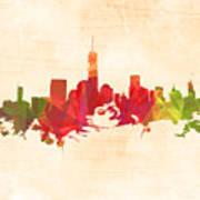 New York Orange Skyline Poster