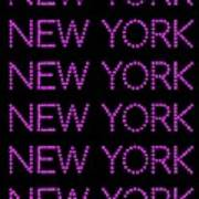 New York - Pink On Black Background Poster