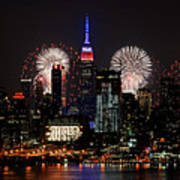 New York Skyline And Fireworks Poster