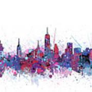 New York Skyline Color Splatter Poster