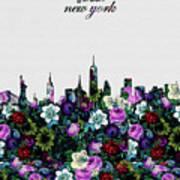 New York Skyline Floral 4 Poster