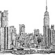 New York Skyline In Ink Poster