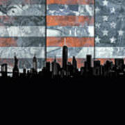 New York Skyline Usa Flag 5 Poster