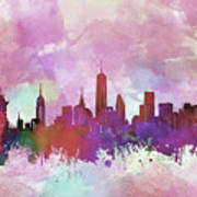 New York Skyline Watercolor 3 Poster