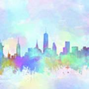 New York Skyline Watercolor 7 Poster