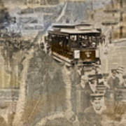 New York Trolley Vintage Photo Collage Poster