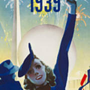 New York, World Fair, Firework, Woman In Blue Dress Poster