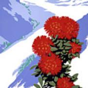 New Zealand Rata Blossom Vintage Travel Poster Poster