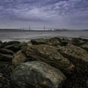 Newport Bridge Under Dramatic Sky Poster