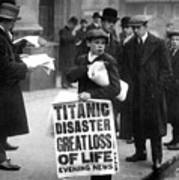 Newsboy Ned Parfett Announcing The Sinking Of The Titanic Poster by English School
