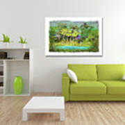 Home Decor With Tropical Palms Digital Painting Poster