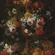 Nicolaes Van Veerendael Antwerp 1640 - 1691 Still Life Of Roses, Carnations And Other Flowers Poster